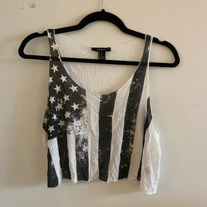 FOREVER 21 American Flag Crop Top